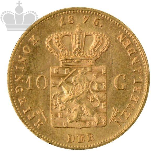 """1875 Nederland 10 Gulden 6,05 Gram Gull """"Sirkulert"""" M/Kapsel"""